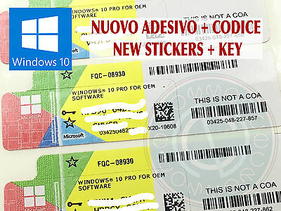 Microsoft License Key For Software Windows Win 10 Pro 32 64 Bit New Stickers