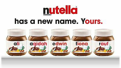 Nutella - Personalised Label - Make your own label - with full jar nutella 750g