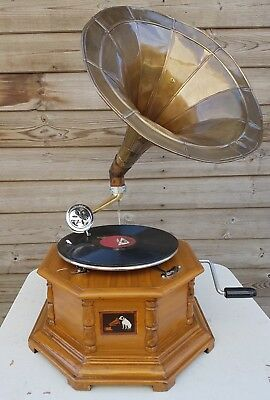 Reproduction Gramophone Player  78 rpm vinyl phonograph Hexagonal Antique Finish