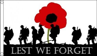 Lest We Forget Army Small 3x2 Flag WW1 WW2 Remembrance Day Poppy Armed Forces
