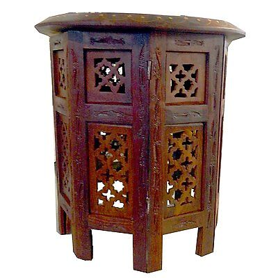 Side table with octagonal foot 40cm carving sheesham wood india decoration