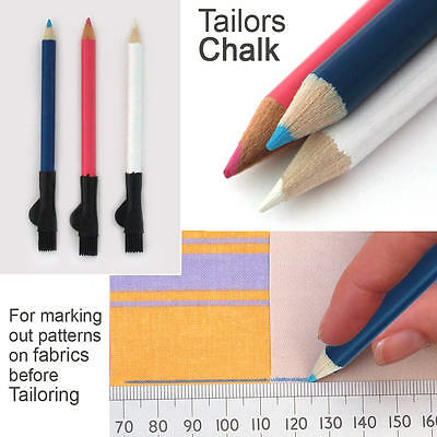 Fabric Markers Chalk Pencils With Brush Tailors Dressmaking Wipe Off 3 Pack