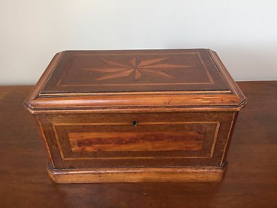 Antique Mahogany & Burl Wood Parquetry Table Casket, 19th Century
