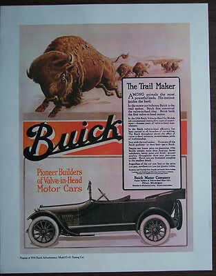 """1916 Print Ad Repro, Buick Model D-45 Touring, Suitable to Frame 14""""x11"""" EX Cond"""