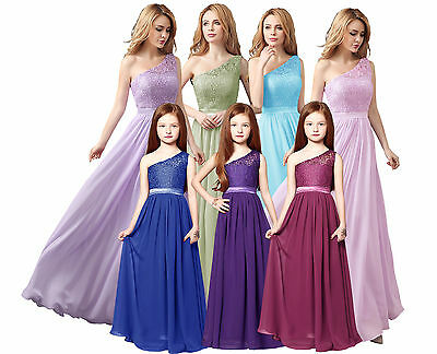 Long Chiffion Lace top Adult/Junior Bridesmaid Evening Wedding Party Dress
