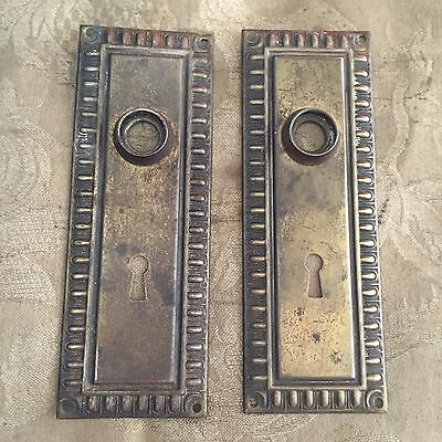 Antique  Pair Of Salvage Architectural door knob Backplates #A