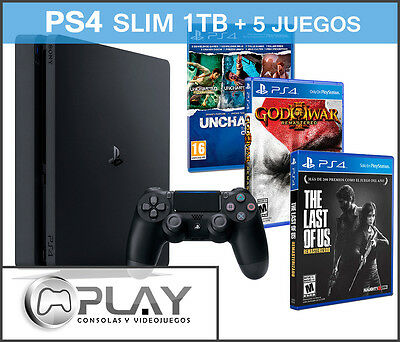 PS4 SLIM 1TB + 5 Juegos The Last of us + God of war 3 + Uncharted Collection !!!