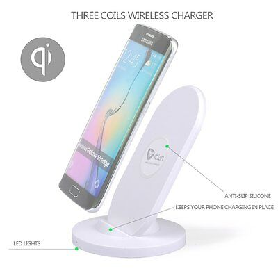 Wireless Charger Qi 3-Coil Wireless Charging Stand A2 White S7 S6 Edge Note 4 5