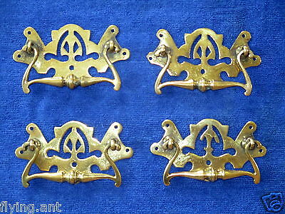 Antique Victorian 1888 Brass Furniture Handle Rg No 108648. One Old Drawer Pull.