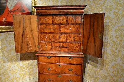 Early Rare Small 18th C Walnut Cabinet on Chest