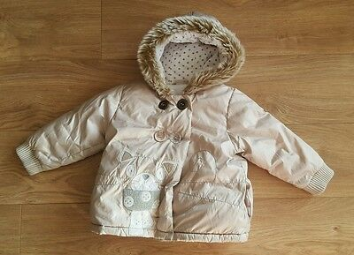 Next Girls Winter Coat, Age 2-3 Years Padded Warm Cute Cat