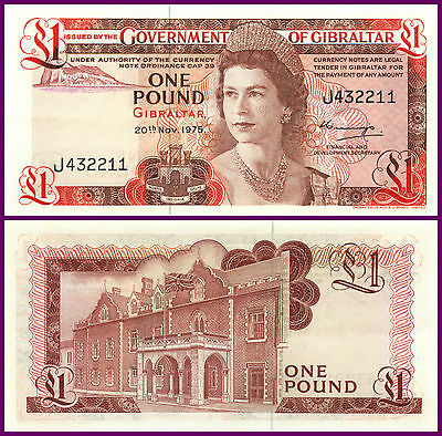 P20a GIBRALTAR 1975 EARLY ONE POUND NOTE 'UNC' RARE HIGH GRADE