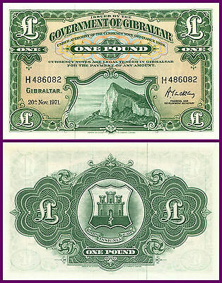 P18b GIBRALTAR 1971 EARLY ONE POUND NOTE 'UNC' RARE HIGH GRADE