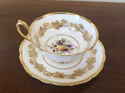 Paragon WHITE & GOLD with Fruit Footed Cup & Saucer Set ~ England