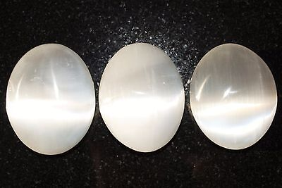 "LG 3"" SELENITE POCKET PALM WORRY STONE Healing Crystal Reiki - ZENERGY GEMS™"