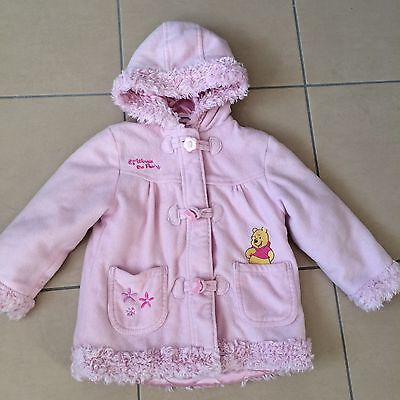 Disney Winnie The Pooh Embroidered Pink Padded Warm Girls Duffle Coat 2-3 Years