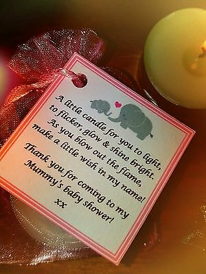 Baby Shower Candle Favours - Blue Pink Yellow Gift Elephants / Baby Feet