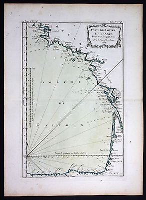 1764 France coste Bordeaux Brest la Rochelle sea chart Bellin map carte gravure