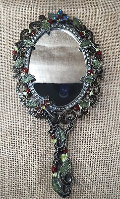 Vintage Ornate Enameld Metal Hand Mirror with Rhinestone Dragonflies Roses