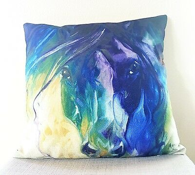 """Blue Roan"" by Artist Marcia Baldwin Cotton Linen Designer Horse Pillow!"