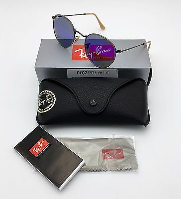 ray ban aviator black frame blue lens  Ray Ban RB3447 Round Metal Blue Flash lens Authentic Unisex ...