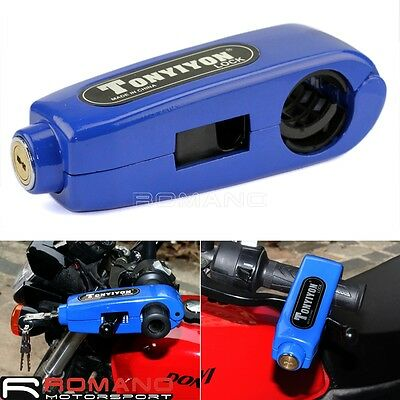 Motorcycle Caps Lock Handlebar Brake lever Grip Security Lock Anit Theft blue