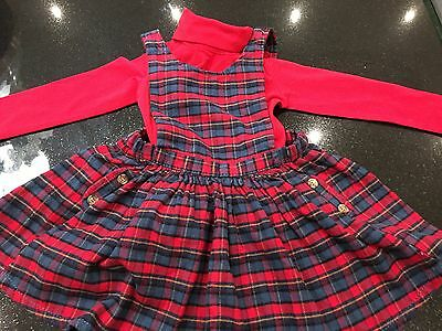 Bnwt Next Warm Brushed Cotton Tartan Pinafore Dress and Red Top 2 Pce Set 3-4 yr