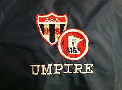 A.S.A. MSF UMPIRE Jacket LARGE Navy Blue LINED Amateur Softball Association