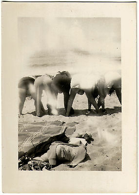 ABSTRACT ARTISTIC Real Photo 1920's RISQUE BEACH-GOERS MOONING BUMS ASS Bataille