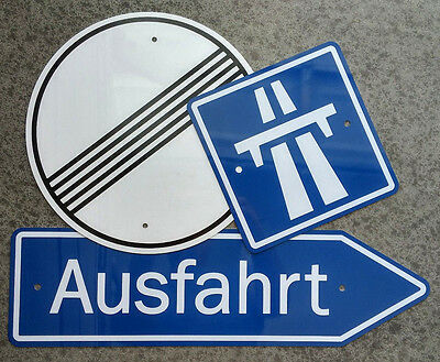 GERMAN AUTOBAHN SIGNS  / Three Piece Aluminum Set - ONE PRICE - FREE SHIPPING !