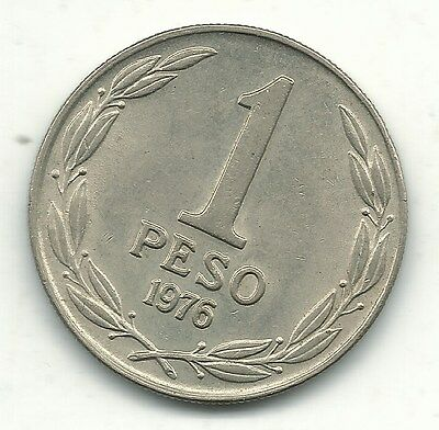 High Grade Au 1976 Chile One Peso Coin-Nov175