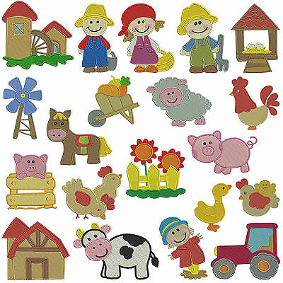 ON THE FARM * Machine Embroidery Patterns * 20 designs x 2 sizes