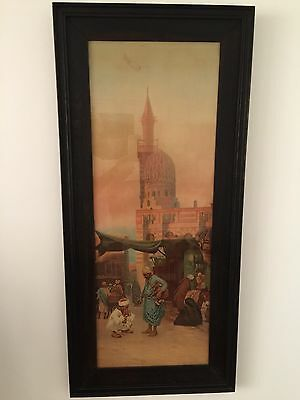 Rare Antique Art Deco Period Artwork Print Egyptian Moroccan Middle Eastern