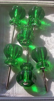 "LOT of 12 Emerald Green Glass DepressionVintage Style Knobs 1-1/4"" FREE Shipping"