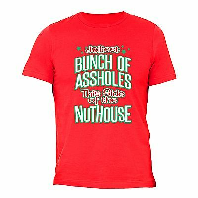 Jolliest Bunch This side NutHouse - UGLY CHRISTMAS shirt Men Women Tshirt Red