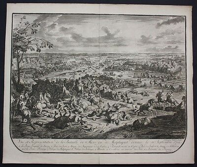 1729 Malplaquet Mons bataille battle gravure engraving Jan Huchtenburgh France