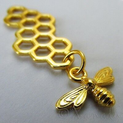 Bee Honeycomb Charms - Wholesale Gold Tone Pendants C1393 - 5, 10, 20PCs