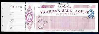 Farrow's Bank Limited. Cheapside, Unused, with counterfoil. 19--.