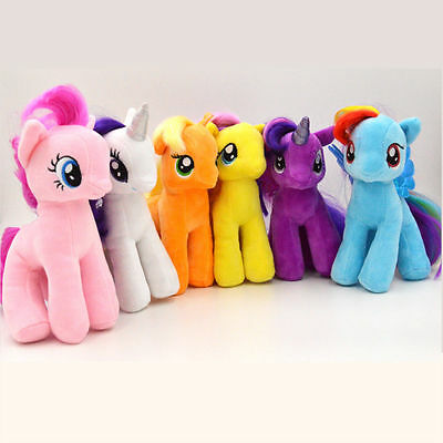 "6pcs set Cute 7"" My Little Pony Horse Figures Stuffed Plush Soft Teddy Doll Toy"