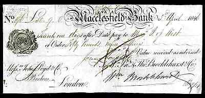 Macclesfield Bank. Bill of Exchange For; Wm Jn & Tho Brocklehurst & Co. 1846/52.