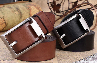 New Men's Black/Brown Casual Pin Buckle Belt Faux Leather Belts Waistband