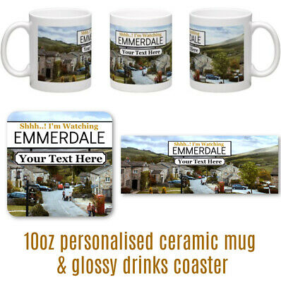 SHH! I'M WATCHING EMMERDALE Personalised Ceramic Mug &  Glossy Hardwwood coaster