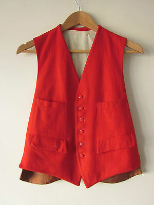 VINTAGE 1930s HANDMADE PEDIGREE 6-BUTTON WAISTCOAT SMALL 100% WOOL GUARDSMAN Exc