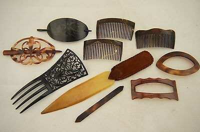 10x French Antique Faux Tortoiseshell/Horn/Celluloid/Jet Hair Comb Mantilla