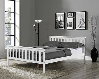 Wooden Bed Frame White Single Double  Size Solid Pine