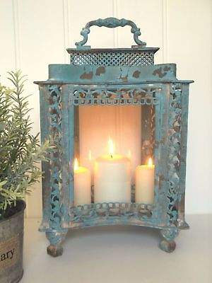 Large French Vintage Style Lantern Candle Holder Shabby Chic Antique Country