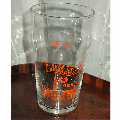 Beer on broadway iv 1991 - campaign for real ale Pint Glass with enamel decorati
