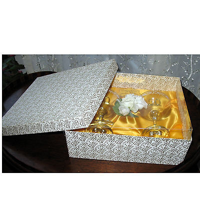 An attractive pair of cut crystal glass Champagne saucer glasses - 50 Golden Wed