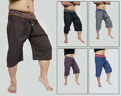 100% Cotton S Fisherman Pants Thai Handmade Striped Casual Shorts