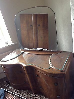 Art Deco Walnut Bowfront Dressing Table With Mirror And 4 Drawers